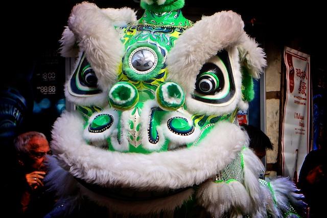 Green lion head