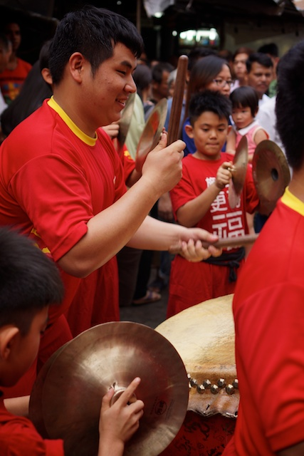 lion dance musicians in Kuala Lumpur's Chinatown for Dongzhi