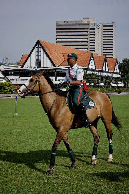 Mounted guard in front of Royal Selangor Club Malaysia