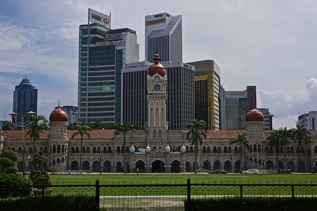 The Sultan Abdul Samad building as seen from the Royal Selangor Club in Merdeka Square, Kuala Lumpur
