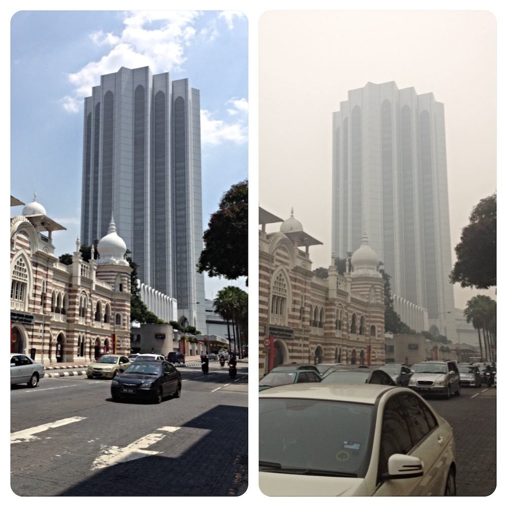 Dayabumi Complex with and without 'haze' of pollution